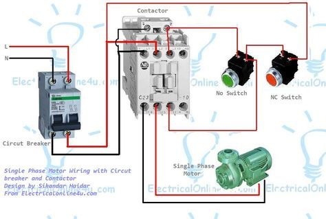 Single Phase Motor Wiring With Contactor Diagram Electrical Online 4u Electrical Circuit Diagram Circuit Diagram Electrical Wiring Diagram