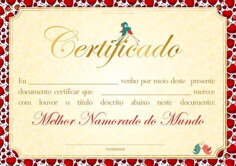 Clique E Imprima Certificado Dia Dos Namorados Melhor