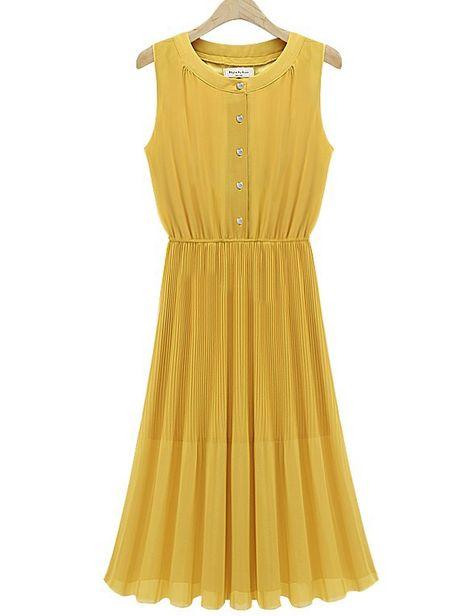 Free shipping! 2014 new pleated sleeveless o-neck long dress casual chiffon dress European Style women dress $21.40