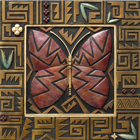 """new acquisition  Butterfly  by Tammy Garcia  web # 9918  Bronze Tile  Bronze with patinas  Edition of 35  15 1/2""""h x 15 1/2""""w"""