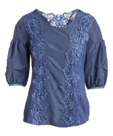 Blue Floral Lace Embroidered Linen Blend Top Women Linen Blend Womens Tops Women