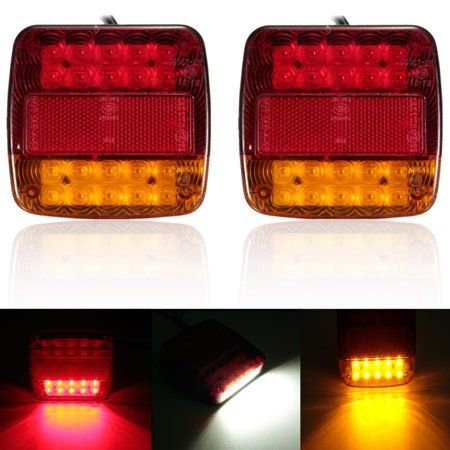 Yellow+Red LED Tail Lights Stop ABS Waterproof Indicator Car Boat Trailer