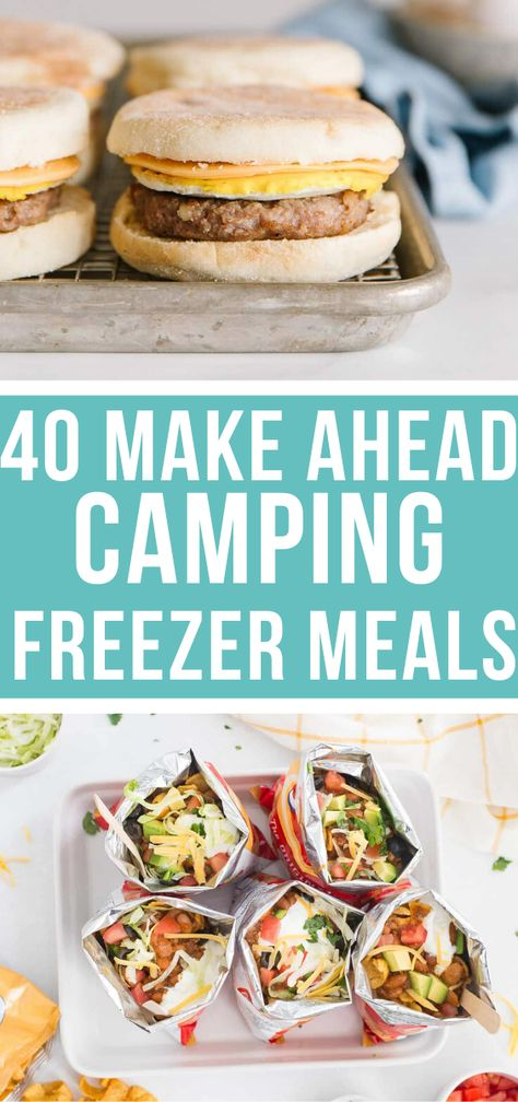 Yay for camping freezer meals!! Seriously these are 40 AMAZING make ahead camping meals that the whole family will love, and that will make your camping trip so much less stressful (just like it should be!!) #makeahead #campingmeals #freezermeals   happymoneysaver.com Camping Desserts, Camping Food Make Ahead, Vegetarian Camping, Camping Lunches, Camping Menu, Make Ahead Freezer Meals, Easy Meals, Camping Foods, Family Camping