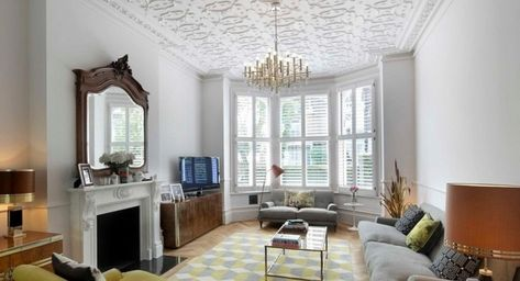 Styropor Deckenplatten Originelle Und Erschwingliche Ideen Fur Die Deckengestaltung Deckengestaltu Deckenarchitektur Innenarchitektur Wohnzimmerlampe Decke