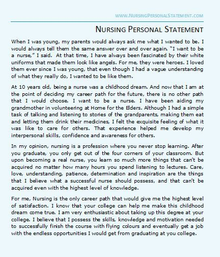 Nursing Personal Statement Sample Personal Statement Examples Personal Statement Admissions Essay