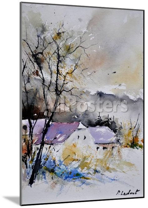 Watercolor 112012 - Purple roofs Painting by Pol Ledent