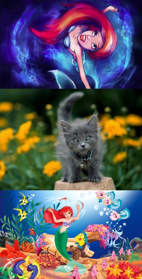 Disney The Little Mermaid Little Beauty Kitten Wallpaper Grey