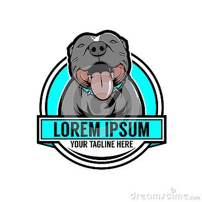 Pitbull Dog Cartoon Character Brand Identity Sign Vector Badge