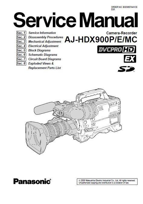 Panasonic AJ HDX900 HD Camcorder Service Manual & Repair