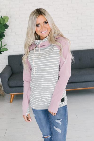 2816c4035992 Ampersand Avenue Baseball DoubleHood Sweatshirt - Lavender Stripe ...