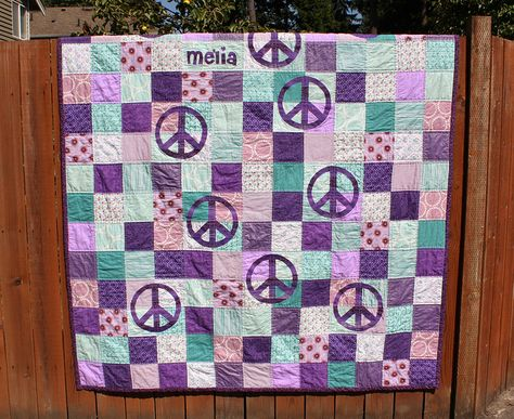 hippie quilt handmade with machine embroidered designs wild and free peace signs
