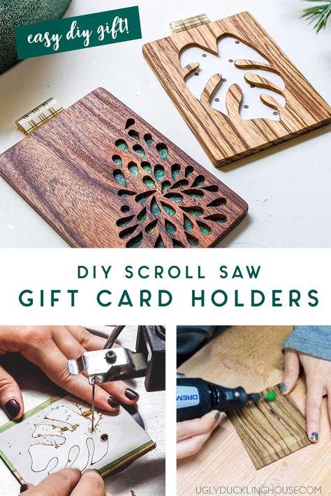 diy gift card holders - scrolled with custom wood designs #diygiftcardholder #giftcards #diy #woodworking #scrollsaw #dremel