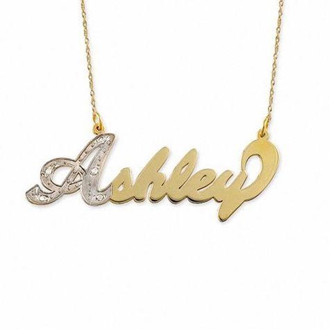 Diamond Accent Script Name Necklace In 10k Gold 1 Line Necklace Name Necklace 10k Gold