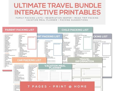 Interactive Printable Family Travel Packing List and Planner- Color Coded with Roadtrip Car Packing List and Meal Planner