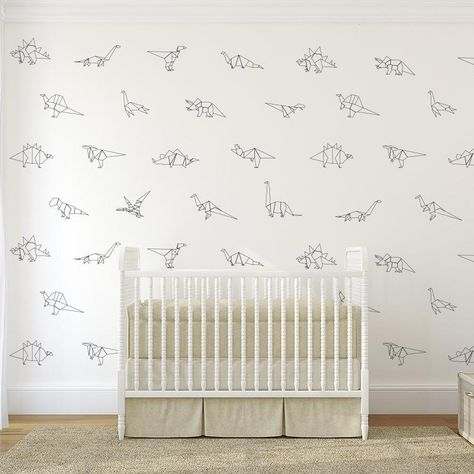 When the dinosaurs come marching, they'll make less of a mess if they're made of paper! Our freestanding Paper Dinos decal pack features over ten unique dinosaurs—but with an ultra-cute twist! These little dino pals look as if they've been created through origami. Decorate any space with our black-and-white dinosaur buddies. Little Boys Rooms, Kids Bedroom Boys, Girl Room, Boys Room Wallpaper, Nursery Wallpaper, Nursery Wall Decals Boy, Modern Boys Rooms, Shared Boys Rooms, Modern Wall Decals