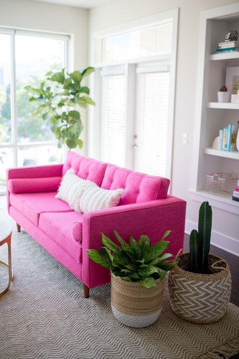 KARLSTAD SOFA IKEA HACK: Mid-Century Inspired Pink Sofa. This sofa ...