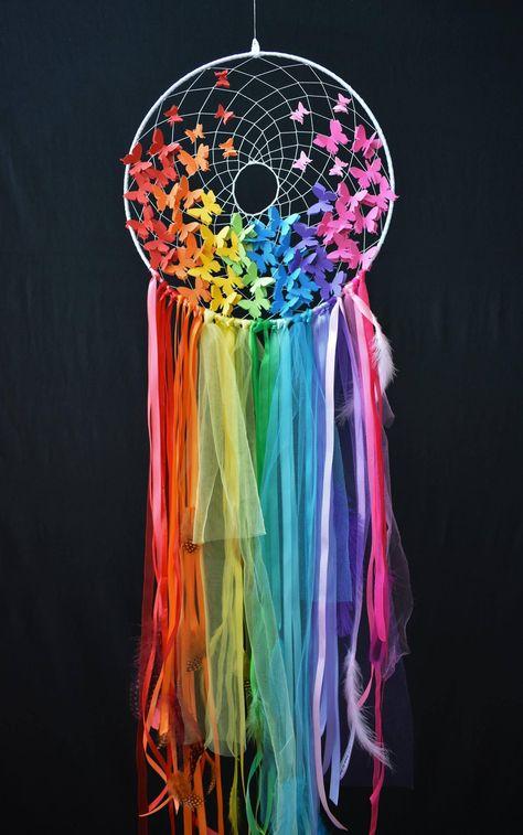 Rainbow dream catcher Butterfly dreamcatcher Rainbow decor | Etsy