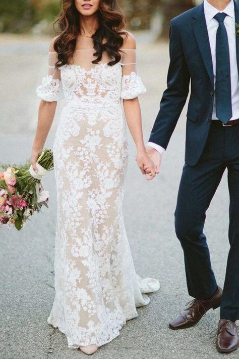 Sheath Off the Shoulder White Lace Long Wedding Dresses,Half Sleeves Wedding Dresses,MW480 Sheath Off the Shoulder White Lace Long Wedding Dresses,Half Sleeves Wedding Dresses,MW480