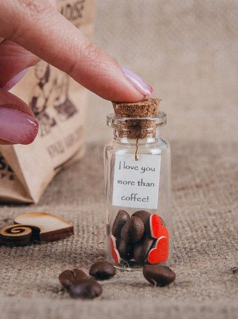 Romantic gifts for him, Coffee lovers gift, Personalized message in a bottle, Gift for her, Boyfrien