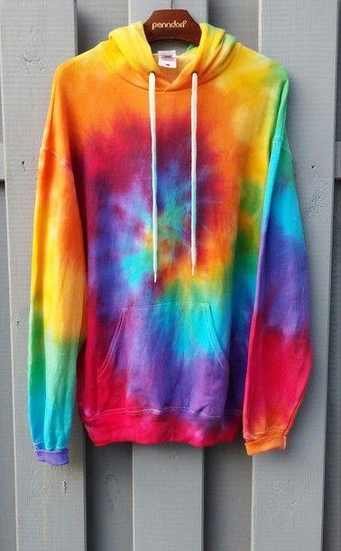 Tie Dye Multi-Color Hoodie Sweatshirt Casual Sweatshirt Pullover Jumper Coat Top