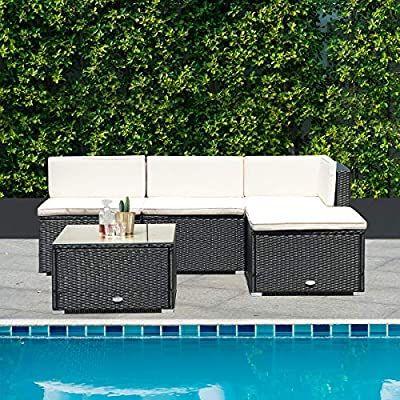 Amazon Com Tangkula 5 Pcs Patio Furniture Sets Outdoor Conversation Set Wicker C In 2020 Small Deck Furniture Wicker Outdoor Furniture Set Sectional Patio Furniture