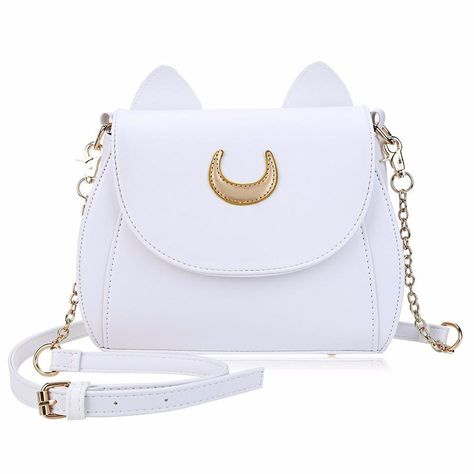 Show off your love for classic girly cartoons and your adorable fashion sense with this Sailor Moon Cat Luna Purse. This bag comes complete with a gold-plated chain link strap, cat ears, and the classic Luna symbol. PU leather Snap button closure Inner zipper pocket FREE shipping! Shipping times: US – 12-20 days Canada – 16-26 days Australia – 13-20 days UK – 20-40 days Sailor Moon Purse, Sailor Moon Luna, Cat Bag, Side Bags, Chain Shoulder Bag, Shoulder Bags, Cute Purses, Girl Backpacks, Women's Handbags