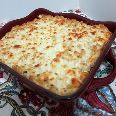 3 Cheese Chicken Alfredo bake:                        1 (16-ounce) package penne or elbow macaroni  2 (10-ounce) containers refrigerated Alfredo sauce  1 (8-ounce) container sour cream  1 (15-ounce) container ricotta cheese  2 garlic clove, minced  3 cups cooked chicken, chopped  2 large eggs, lightly beaten  1/4 cup grated Parmesan cheese  1/4 cup chopped fresh parsley  2 cups mozzarella cheese    Prepare pasta according to package directions; drain and return to pot.  Stir together all ingr...