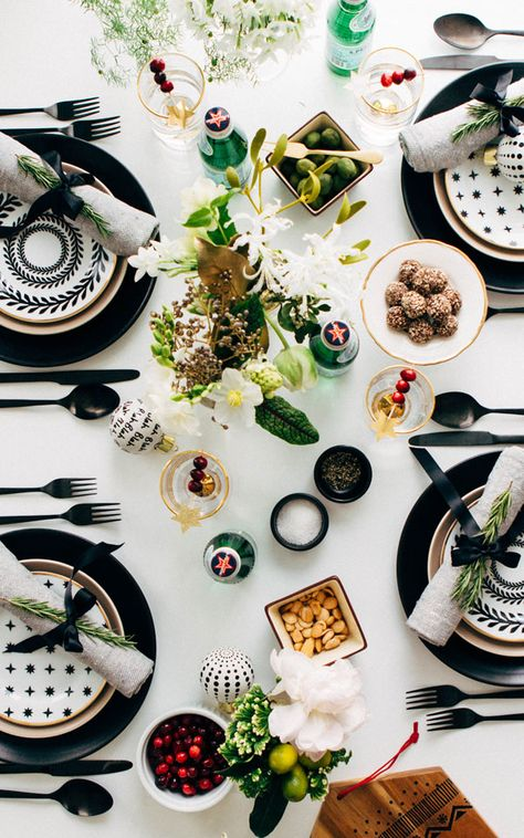 simple black and white holiday tabletop