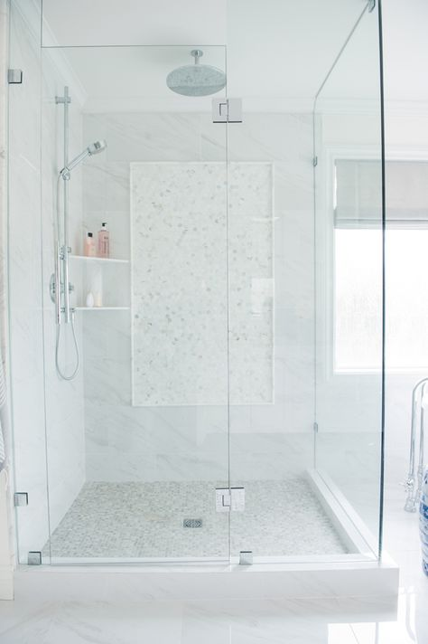Creekside Tile Shower Walls Are Porcelain Marble 12x24 In