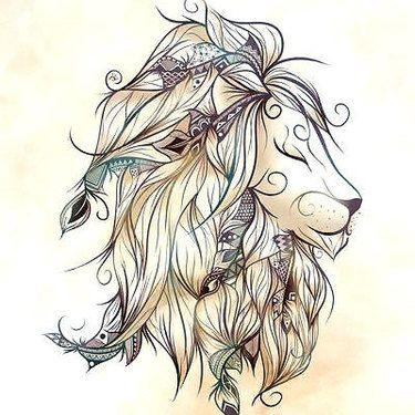 Girly Cute Lion Tattoo
