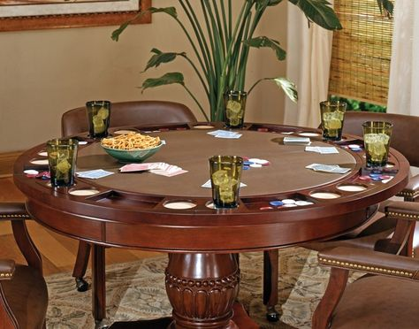Tournament Poker Game Table With Brown Caster Chairs Poker Table