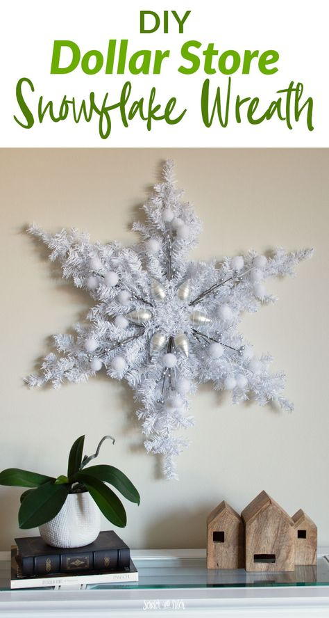 DIY Dollar Store Snowflake Wreath DIY Christmas Decorations: Snowflake Wreath - Dollar Tree Craft<br> Create a stunning DIY Christmas Decoration Snowflake Wreath using mini artificial Christmas trees and your choice of decorations from the Dollar Tree. Diy Christmas Decorations, Diy Christmas Snowflakes, Snowflake Wreath, Dollar Tree Christmas, Snowflake Decorations, Dollar Tree Crafts, Christmas Tree Toppers, Holiday Crafts, Christmas Diy