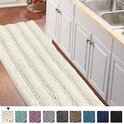 Advertisement Non Slip Kitchen Bath Rug Runner Luxury Chenille Shaggy Bathroom Rug Mat Ivory W Advertise In 2020 Bath Runner Rugs Shaggy Bathroom Rugs Bathroom Rugs