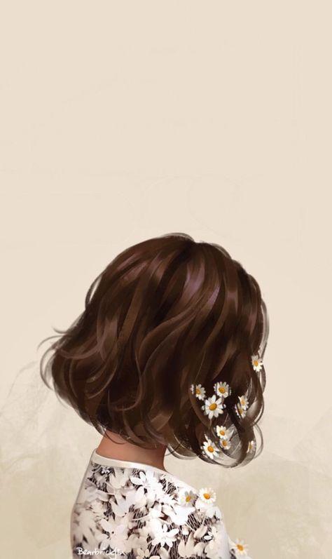 Girl with flowers in hair illustration art #digitalpainting #digitalart #portrait
