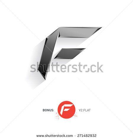 Letter F, Vector metal font Including flat version Elegant - bonus letter template