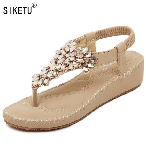 2a03fad4ec06fb 2017 New Korean Rhinestone Sandals Women Heels Flip Flops Shoes Woman 35-40  SIKETU Brand