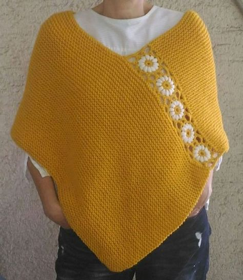 Mustard Yellow Poncho Hand Knitted Poncho with Daisy Flowers | Etsy