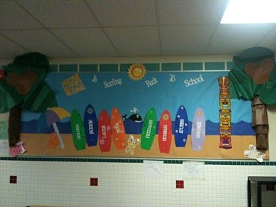 Back-to-school surf boards with student names.