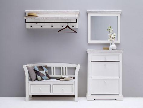 Wandgarderobe Garderobenpaneel mit Kleiderstange Kleiderhaken Kiefer weiß braun