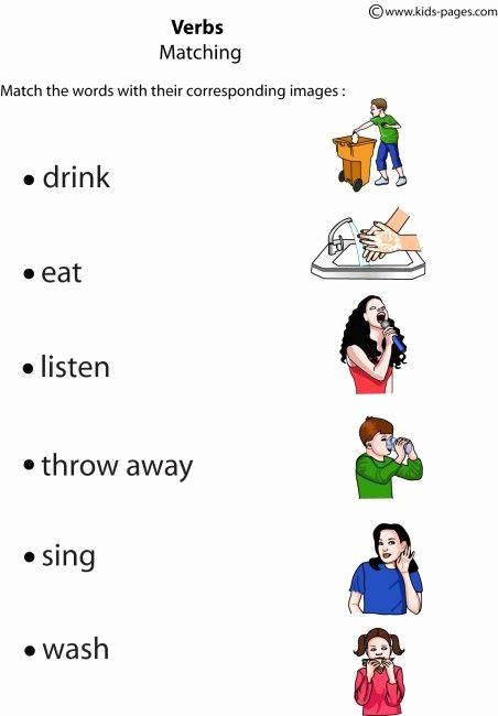Free Verb Worksheets For Kindergarten Kegiatan Sekolah, Belajar Ejaan,  Pendidikan