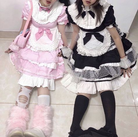 Mode Harajuku, Harajuku Fashion, Kawaii Fashion, Pastel Fashion, Maid Outfit, Maid Dress, Edgy Outfits, Cool Outfits, Fashion Outfits