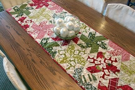 Peppermint Twist quilted table runner.