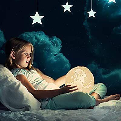 Albrillo Rgb 3d Erde Lampe 15cm Mit Remote Touch Control 16 Lichtfarben Und Dimmbar Nachtlicht Usb Wiederaufladbar Als Deko Und Gesc In 2020 Nachtlicht Lampe Licht