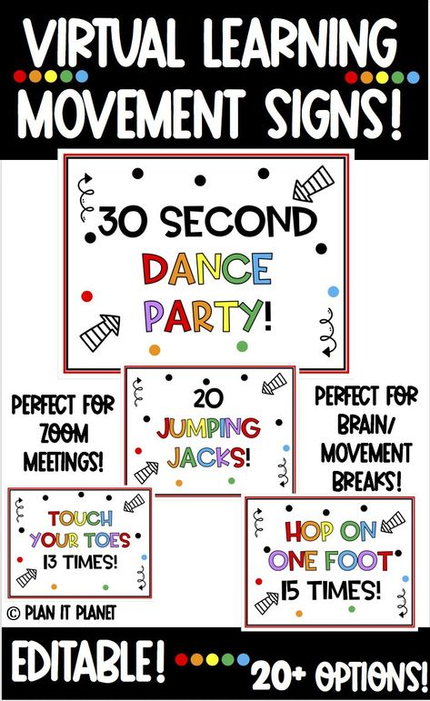 Do your students need fun breaks throughout your virtual instruction? Do you want your students to feel connected, excited & happy? It is time to add Distance Learning Movement Break Signs to your virtual classroom! Just pick a sign/slide and put it up before, during or after a lesson! #distancelearningelementary #distancelearningkindergarten #distancelearningschedule #distancelearningspecialeducation #distancelearningmorningmeeting  #virtuallearningclassroom #zoomclasroom #zoomclassmeetingideas