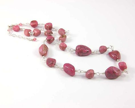 Genuine Rhodonite Necklace, Pink Gemstone Nuggets, Chunky