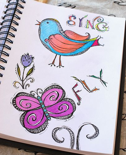 Art Journal - Zenspirations Bird and Butterfly