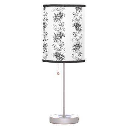 Classic Victorian Flower Pattern Black Amp White Art Desk Lamp