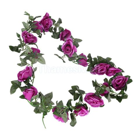 2.4m long Silk Rose Flower Ivy Vine Leaf Garland Wedding Party bouquet New QIR5