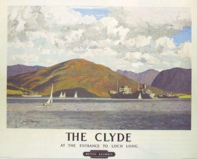 Modern Wall Art Print River Clyde Vintage Travel Poster