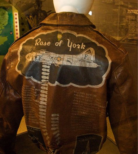 A photograph of a Rose of York crew bomber jacket at the Air Force Museum in Pooler, Georgia. This jacket depicts Rose of York as she was on the day of the christening without the red and yellow Bomb Group common markings as seen in the previous photo.